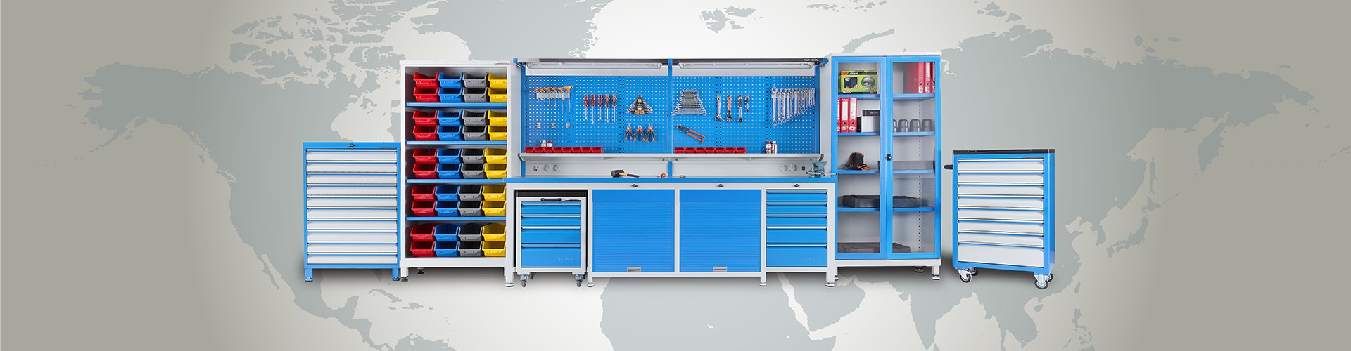 Indutrial Equipments by Metin AKIN Metal ; Workbenches, Trolleys, Cabinets, Drawer Cabinets, Lockers and other...